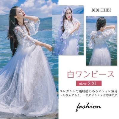 マキシ丈ワンピース 白 レディースサマードレス Aラインワンピ  刺繍ロングドレス シフォン ピーチワンピースふわふわ リゾート 透け感 ホワイト