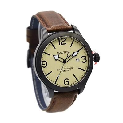 Nautica Men's 43mm Brown Leather Band IP Steel Case Quartz Watch NAPJWA006 並行輸入品
