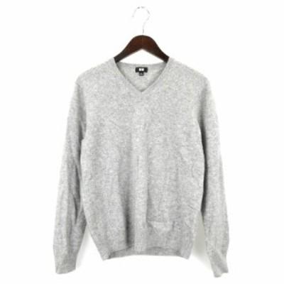 【中古】ユニクロ UNIQLO カシミヤ100% ニット Vネック セーター M グレー 201215O ※OIM メンズ