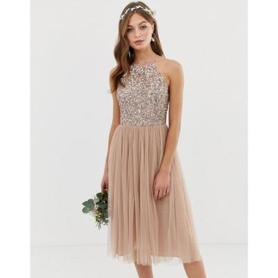 マヤ ミディドレス レディース Maya Bridesmaid halter neck midi tulle dress with tonal delicate sequins in taupe blush エイソス ASOS