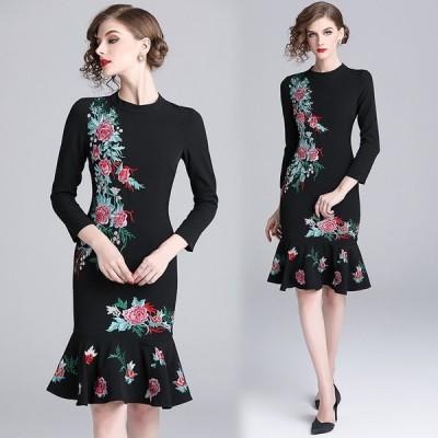 春 新作 ドレス ワンピース レディース 20代 30代 40代 大きめ 大きいサイズ インスタ プチプラ パーティー 秋 七分袖 549