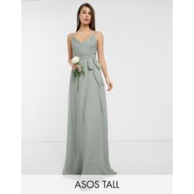 エイソス レディース ワンピース トップス ASOS DESIGN Tall Bridesmaid cami maxi dress with ruched bodice and tie waist Olive