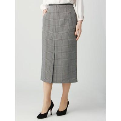 ハンドウォッシュ/ツイーディーグレンチェック×エコレザー フロントスリットタイトスカート