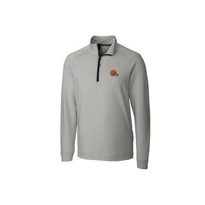 レプリカ ユニフォーム 応援 フットボール NFL カッター&バック CBUK by Cutter Buck Cleveland Browns Gray Jackson Half Zip Overknit Jacket