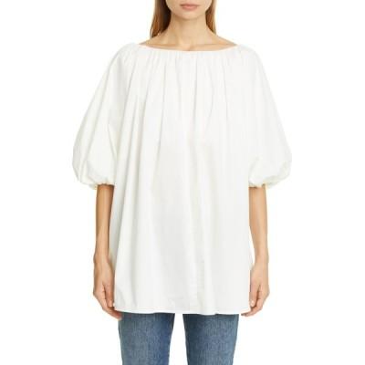 コー カットソー トップス レディース Puff Sleeve Cotton Blend Top White