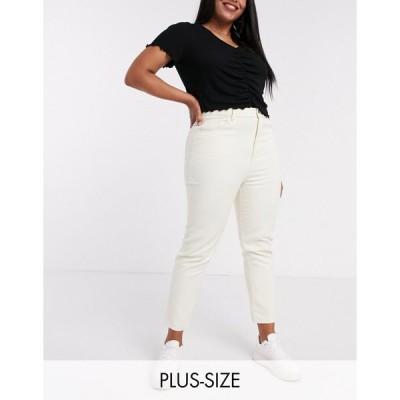 デイジーストリート ジーンズ デニム 大きいサイズ レディース Daisy Street Plus high waist mom jeans in stone エイソス ASOS ベージュ
