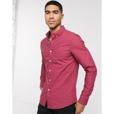 ファーラー メンズ シャツ トップス Farah Brewer slim long sleeve shirt Red