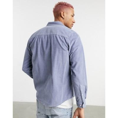 エイソス メンズ シャツ トップス ASOS DESIGN regular fit cord shirt in blue Blues