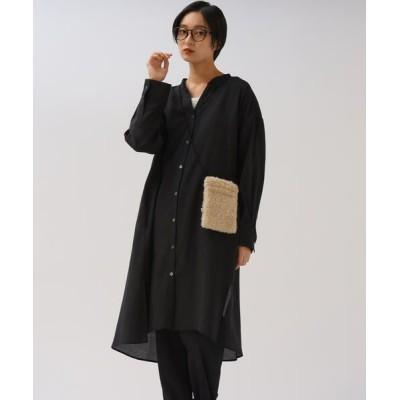 MAYSON GREY/メイソングレイ シアーバンドカラーシャツワンピース ブラック S