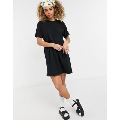 ノイジーメイ ミディドレス レディース Noisy May mini smock t-shirt dress in black エイソス ASOS ブラック 黒