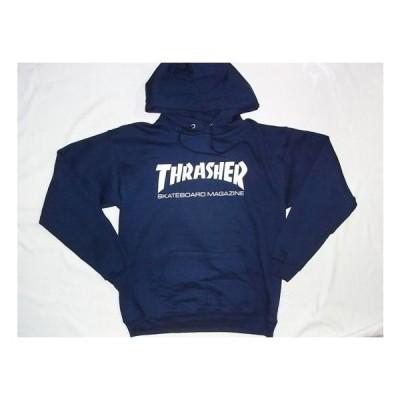 USA直輸入 THRASHER スラッシャー 定番ロゴ プルオーバー フード パーカー ネイビー 紺x白