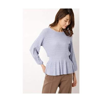 [ナチュラルビューティーベーシック] セーター シャーリングペプラムニット差込 レディース (ブルー M)