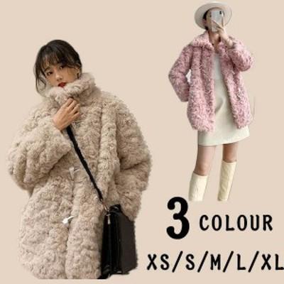 ボリュームファージャケット フェイクファーコート もこもこ レディース 冬 厚手 防寒 かわいい 韓国 通勤 カバー あったか ふわふわ 暖