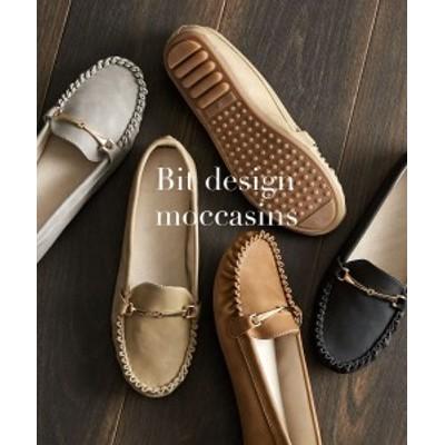 靴 レディース ビット デザイン モカシン キャメル/グレー/ブラック/ベージュ 23.5/24.5cm ニッセン