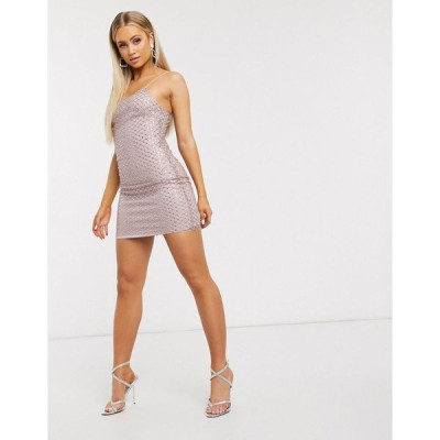 クラブエル ミニドレス レディース Club L London embellished overlay mesh cami mini dress in pale pink エイソス ASOS ピンク