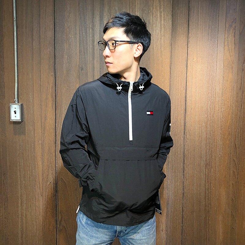 美國百分百【全新真品】Tommy Hilfiger 半拉 連帽外套 風衣 夾克 TH logo 衝鋒衣 黑色 AR10