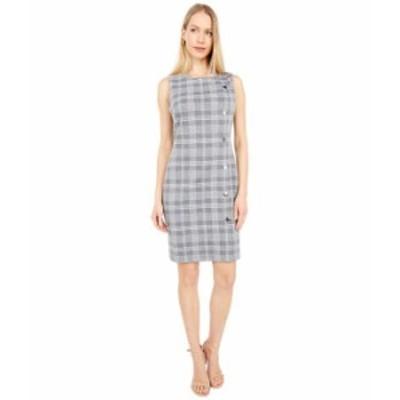 トミー ヒルフィガー レディース ワンピース トップス Menswear Knit Button Sheath Dress Grey/Ecru
