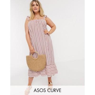 エイソス ドレス 大きいサイズ レディース ASOS DESIGN Curve cami midi sundress with pep hem in rust stripe エイソス ASOS