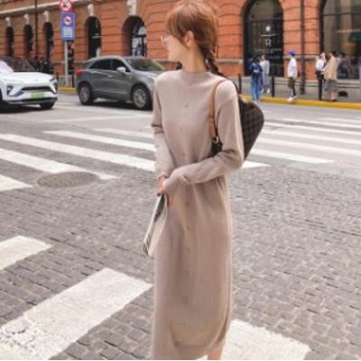 韓国ファッション ニットワンピース ロングワンピース 着痩せ 秋冬 レデイース かわいい シンプル ニットトップス