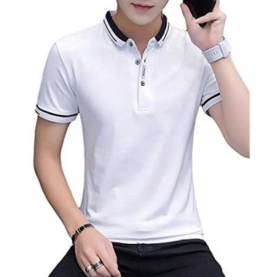 メリュエル 選べる 3タイプ カジュアル ポロシャツ 大人 スタイル お洒落 トップス 半袖 お兄(ホワイト(デザインライン), XL)