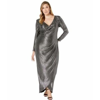 アドリアナ パペル ワンピース トップス レディース Plus Size Metallic Jersey Gown Black/Gunmetal