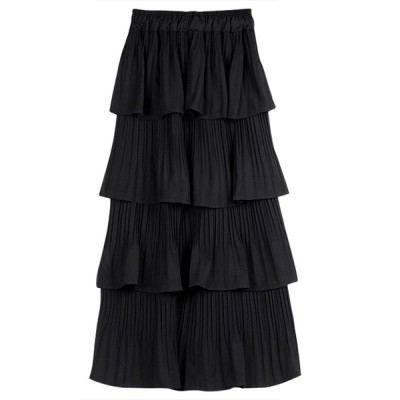 2色レディース 大きいサイズ Aライン  ロングスカート   ハイウエストゴム  無地 スカート春夏 チュールティアードスカート おしゃれ 可愛い