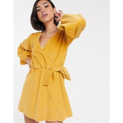 エイソス レディース ワンピース トップス ASOS DESIGN cord wrap smock mini dress in marigold