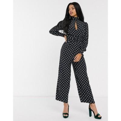 エイソス レディース ワンピース トップス ASOS DESIGN ruched waist detail jumpsuit with split front in polka dot