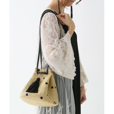 【オシャレウォーカー】 『nOrドット刺繍巾着ペーパーバッグ』 レディース ナチュラル - osharewalker