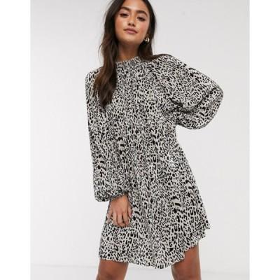 エイソス レディース ワンピース トップス ASOS DESIGN oversized plisse smock dress in animal print