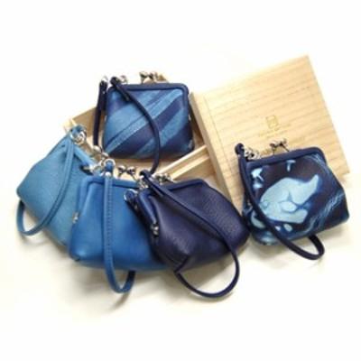 Cramp×SUKUMO Leather 藍染め がま口財布 小 SKM-003(がま口 がま口財布 小銭入れ コインケース クランプ) 1-2W