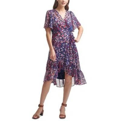 カルバンクライン レディース ワンピース トップス Floral-Print Chiffon High-Low Dress Indigo/Berry Multi