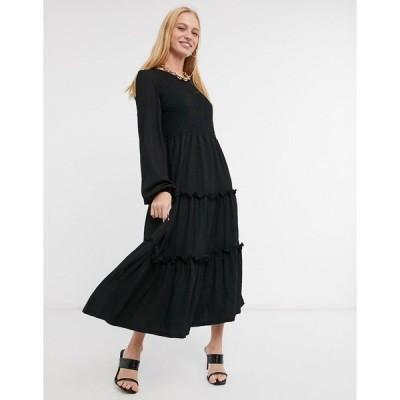 リバーアイランド レディース ワンピース トップス River Island puff sleeved slit midi dress in black Black