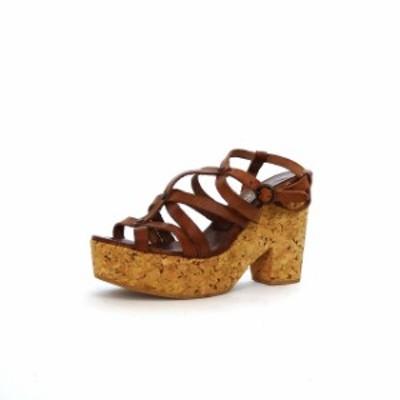 【中古】ルクラベルージュ LE CRABE ROUGE レザーストラップ サンダル 靴 36 ブラウン 茶 春夏 レディース