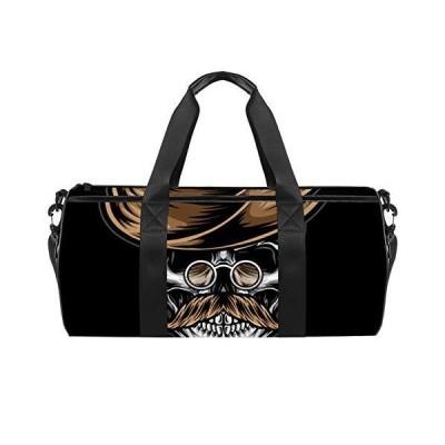 Sport Duffel Bag Skull beard hat Gym Bag Kids Travel Bag Weekend Bag