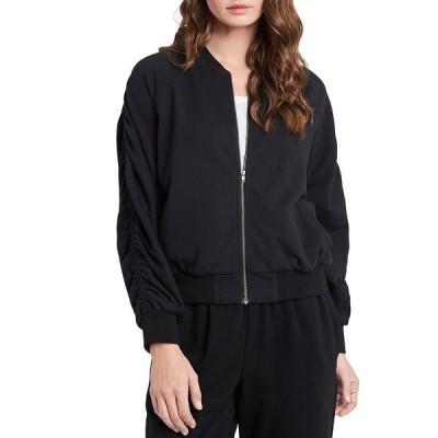 ワンステート レディース ジャケット&ブルゾン アウター Zip Front Ruched Long Sleeve Jacket Rich Black