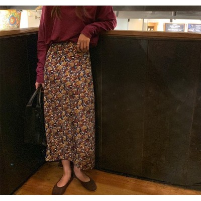 レトロ 花柄 ロング スカート