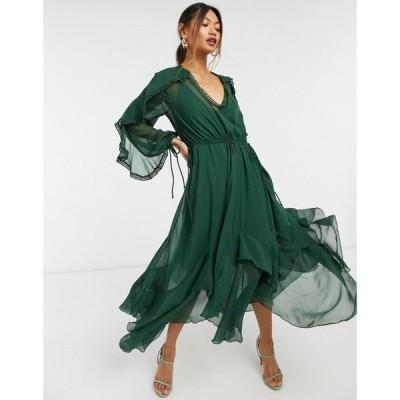 エイソス ASOS DESIGN レディース ワンピース ミドル丈 ワンピース・ドレス drape ruffle midi dress with lace insert and tassle detail in green グリーン