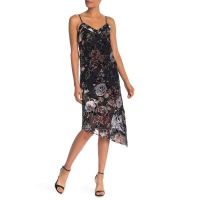 ナネットレポー レディース ワンピース トップス Velvet Floral Slip Dress VERY BLACK
