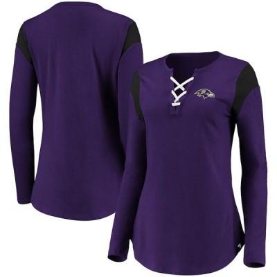 ファナティクス ブランデッド レディース Tシャツ トップス Baltimore Ravens Fanatics Branded Women's Iconic Lace-Up Long Sleeve T-Shirt