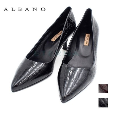 ALBANO 靴 パンプス レディース イタリア インポート ピンヒール 黒エナメル ダークブラウン Made in Italy 01071