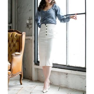 スカート ハイウエスト4連ボタンスリットタイトスカート/20591