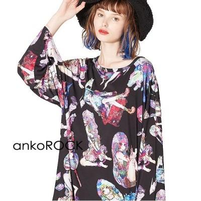 ankoROCK アンコロック Tシャツ メンズ カットソー ワンピース ビッグTシャツ レディース ユニセックス プリントTシャツ ガールズ ビッグシルエット