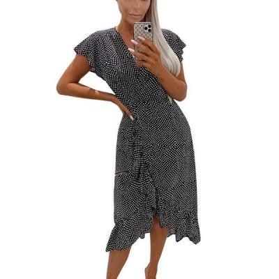 アックスパリ ワンピース トップス レディース Women's Polka Dot Ruffle Wrap Midi Dress Black