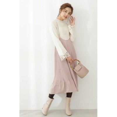PROPORTION BODY DRESSING/プロポーションボディドレッシング  サテンプリーツジャンパースカート ピンク FR