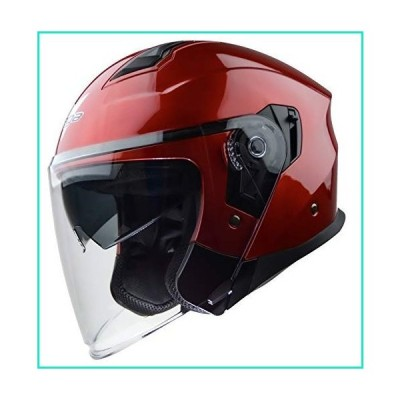 Vega Helmets Magna Open Face Motorcycle Helmet with Sunshield Unisex-Adult powersports (Candy Red, SM) -9000-272