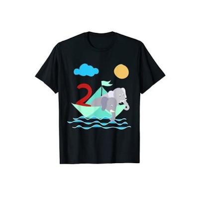 紙のボートに乗った象たちの海 2歳の誕生日 Tシャツ