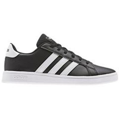 adidas(アディダス)キッズシューズ スニーカー ジュニア 男の子 女の子 子ども アディダス adidas グランドコートK GRANDCOURT K コートスタイル ひも靴 子供靴 20-25.5cm 女児 男児 運動靴 ブラック ホワイト くつ/GRANDCOURT-K