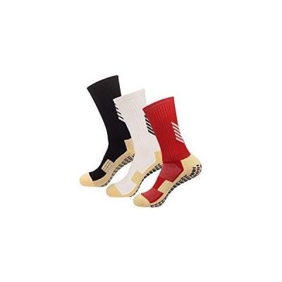 メンズスポーツソックス(男女兼用)3足組 滑り止めソックス トレーニング 靴下 ソックス サッカー バス ヨガソックス テニス 24-27.