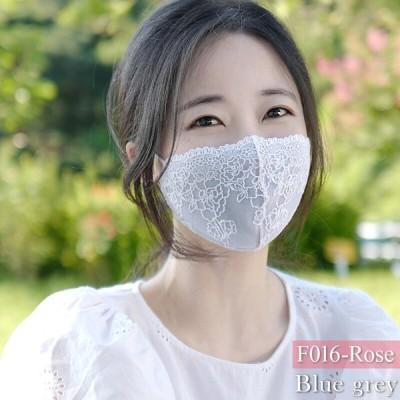 チュールレースマスク 洗える冷感マスク 1枚 送料無料 F016 ローズ柄